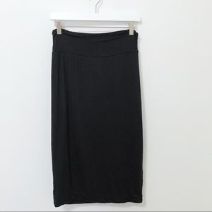 Bobeau Black Stretch Knit Midi Penci Skirt